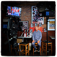 """SAN FRANCISCO, CA - AUGUST 7:  iPhone Instagram of NBC Sports Bay Area reporter Matt Maiocco doing a live television interview promoting his new book """"Letters to 87"""" about Dwight Clark at Pete's Tavern on August 7, 2019 in San Francisco, California. (Photo by Brad Mangin)"""