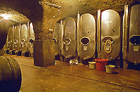 The Thummerer winery in Eger: also the fermentation is done in the underground cellar, here, the stainless steel fermentation tanks custom built to utilise space best. Thummerer is one of the leading growers and wine makers in Eger. Credit Per Karlsson BKWine.com