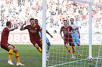 Roma's Federico Fazio, center, celebrates after scoring during the Italian Serie A football match between Roma and Lazio at Rome's Olympic stadium, September 29, 2018. Roma won 3-1.<br /> UPDATE IMAGES PRESS/Riccardo De Luca