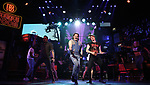 """Matt Ban, Mitchell Jarvis and CJ Eldred with cast during the tech rehearsal for """"Rock of Ages"""" 10th Anniversary Production on June 13, 2019 at the New World Stages in New York City."""