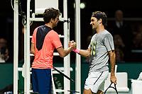 Rotterdam, Netherlands, 12 Februari, 2018, Ahoy, Tennis, ABNAMROWTT, Roger Federer (SUI), Robin Haase (NED)<br /> Photo:tennisimages.com