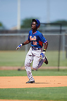 GCL Mets center fielder Ranfy Adon (12) running the bases during the first game of a doubleheader against the GCL Astros on August 5, 2016 at Osceola County Stadium Complex in Kissimmee, Florida.  GCL Astros defeated the GCL Mets 4-1 in the continuation of a game started on July 21st and postponed due to inclement weather.  (Mike Janes/Four Seam Images)