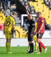 Oxford United's Rob Atkinson is shown a red card by referee Andy Davies<br /> <br /> Photographer Chris Vaughan/CameraSport<br /> <br /> The EFL Sky Bet League One - Saturday 12th September 2020 - Lincoln City v Oxford United - LNER Stadium - Lincoln<br /> <br /> World Copyright © 2020 CameraSport. All rights reserved. 43 Linden Ave. Countesthorpe. Leicester. England. LE8 5PG - Tel: +44 (0) 116 277 4147 - admin@camerasport.com - www.camerasport.com - Lincoln City v Oxford United