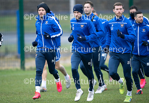 St Johnstone Training…….14.02.20<br />David Wotherspoon pictured running alongside Stevie May and Anthony Ralston during this morning's training session at McDiarmid Park ahead of tomorrows game against Ross County.<br />Picture by Graeme Hart.<br />Copyright Perthshire Picture Agency<br />Tel: 01738 623350  Mobile: 07990 594431