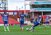 2nd April 2021, Oakwell Stadium, Barnsley, Yorkshire, England; English Football League Championship Football, Barnsley FC versus Reading; Liam Moore of Reading takes a direct free kick but hits the top of the wall