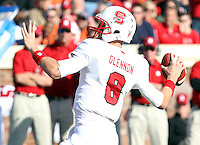 Oct. 22, 2011 - Charlottesville, Virginia - USA; North Carolina State quarterback Mike Glennon (8) throws the ball during an NCAA football game against the Virginia Cavaliers at the Scott Stadium. NC State defeated Virginia 28-14. (Credit Image: © Andrew Shurtleff