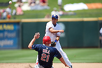 Round Rock Express shortstop Luis Hernandez #9 turns a double play during the Pacific Coast League baseball game against the Memphis Redbirds on May 6, 2012 at The Dell Diamond in Round Rock, Texas. The Express defeated the Redbirds 5-1. (Andrew Woolley/Four Seam Images).