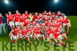 East Kerry team celebrates with the Bishop Moynihan cup as his team-mates celebrate after the Kerry County Senior Football Championship Final match between East Kerry and Mid Kerry at Austin Stack Park in Tralee on Saturday night.