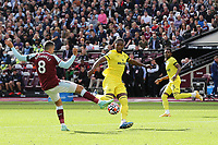 Pablo Fornals of West Ham tries to block a shot from Brentford's Shandon Baptiste during West Ham United vs Brentford, Premier League Football at The London Stadium on 3rd October 2021