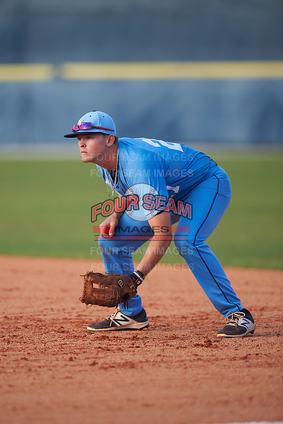 SCF Manatees first baseman John Pichman (27) during a game against the College of Central Florida Patriots on February 8, 2017 at Robert C. Wynn Field in Bradenton, Florida.  SCF defeated Central Florida 6-5 in eleven innings.  (Mike Janes/Four Seam Images)
