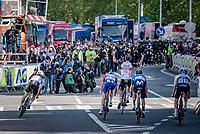 Tadej Pogačar (SVN/UAE-Emirates) wins the finish sprint ahead of World Champion Julian Alaphilippe (FRA/Deceuninck - QuickStep) & David Gaudu (FRA/Groupama - FDJ). Alejandro Valverde (ESP/Movistar) finishes 4th in his very last Liège & Michael Woods (CAN/Israel Start-Up Nation) 5th.<br /> <br /> 107th Liège-Bastogne-Liège 2021 (1.UWT)<br /> 1 day race from Liège to Liège (259km)<br /> <br /> ©kramon