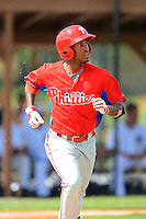 GCL Phillies outfielder Steven Golden (19) during a game against the GCL Tigers on July 16, 2013 at Tiger Town in Lakeland, Florida.  GCL Tigers defeated GCL Phillies 8-6.  (Mike Janes/Four Seam Images)