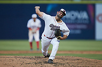 Kannapolis Cannon Ballers relief pitcher Sal Biasi (7) in action against the Charleston RiverDogs at Atrium Health Ballpark on June 29, 2021 in Kannapolis, North Carolina. (Brian Westerholt/Four Seam Images)