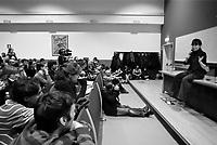 milano, università bicocca. sabina guzzanti a sostegno della lotta degli studenti contro la riforma dell'istruzione --- milan, university of bicocca. the actress sabina guzzanti support the students in their fight against the school reform