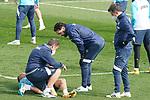 Getafe CF's coach Jose Bordalas with Sofian Chakla injured during training session. February 17, 2021.(ALTERPHOTOS/Acero)