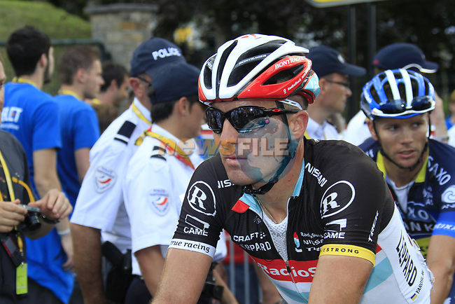 Yaroslav Popovych (UKR) Radioshack-Nissan at the end of Stage 1 of the 99th edition of the Tour de France, running 198km from Liege to Seraing, Belgium. 1st July 2012.<br /> (Photo by Eoin Clarke/NEWSFILE)