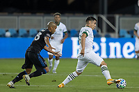 SAN JOSE, CA - SEPTEMBER 16: Felipe Mora #9 of the Portland Timbers & Judson #93 of the San Jose Earthquakes battle for the ball during a game between Portland Timbers and San Jose Earthquakes at Earthquakes Stadium on September 16, 2020 in San Jose, California.