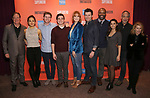 """Timothy J. McClimon, Julia Abueva, Jake Levy, Kyle McArthur, Kate Baldwin, Bryce Pinkham Nathaniel Stampley, Salena Qureshi, Thom Sesma and Carole Rothman during the Sneak Peak Meet the cast and creative team of the World Premiere Musical """"Superhero"""" on January 16, 2019 at the Green Room 42 in New York City."""