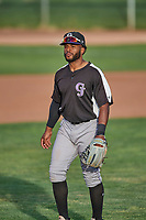 Dondrei Hubbard (20) of the Grand Junction Rockies during the game against the Ogden Raptors at Lindquist Field on June 5, 2021 in Ogden, Utah. The Raptors defeated the Rockies 18-1. (Stephen Smith/Four Seam Images)