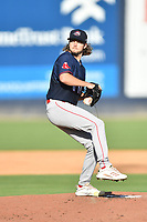 Greenville Drive starting pitcher Chris Murphy (18) delivers a pitch during a game against the Asheville Tourists on July 16, 2021 at McCormick Field in Asheville, NC. (Tony Farlow/Four Seam Images)