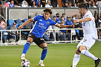 SAN JOSE, CA - JUNE 26: Cade Cowell #44 of the San Jose Earthquakes during a game between Los Angeles Galaxy and San Jose Earthquakes at PayPal Park on June 26, 2021 in San Jose, California.