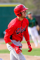 Peoria Chiefs outfielder Dylan Carlson (5) runs to first base during a Midwest League game against the Beloit Snappers on April 15, 2017 at Pohlman Field in Beloit, Wisconsin.  Beloit defeated Peoria 12-0. (Brad Krause/Four Seam Images)