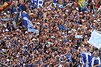 BOGOTA-COLOMBIA-03- MAYO-2015.Hinchas de Millonarios durante del  partido por la fecha 18 de la Liga Águila I 2015 jugado en el estadio Nemesio Camacho El Campín de la ciudad de Bogotá./Supporters of Millonarios cheer for their team<br /> during the match for the 18th date of the Aguila League I 2015 played at Nemesio Camacho El Campin stadium in Bogotá city<br /> Photo: VizzorImage / Felipe Caicedo / Staff