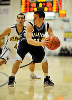 16 January 2012: University of Maine Black Bears' guard Andrew Rogers, a Senior from Philadelphia, PA, in action against the University of Vermont Catamounts at Patrick Gymnasium in Burlington, Vermont. The Catamounts defeated the Black Bears 79-65. Mandatory Credit: Ed Wolfstein Photo