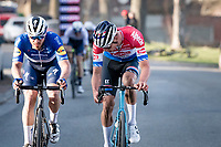 Florian Sénéchal (FRA/Deceuninck - Quick Step) & Mathieu Van der Poel (NED/Alpecin-Fenix) in the race finale with VDP realising something is wrong with his right shifter/handlebars... with will snap off moments later<br /> <br /> 53rd Le Samyn 2021<br /> ME (1.1)<br /> 1 day race from Quaregnon to Dour (BEL/205km)<br /> <br /> ©kramon