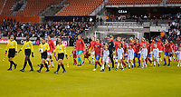 HOUSTON, TX - FEBRUARY 03: The starting lineups walk out of the Nations USA and Costa Rica during a game between Costa Rica and USWNT at BBVA Stadium on February 03, 2020 in Houston, Texas.