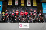 Lotto-Soudal on stage at the Team Presentation before the 78th edition of Paris-Nice 2020, Plaisir, France. 8th March 2020.<br /> Picture: ASO/Fabien Boukla | Cyclefile<br /> All photos usage must carry mandatory copyright credit (© Cyclefile | ASO/Fabien Boukla)