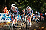 The peloton including team mates Jasper Stuyven (BEL) and Mads Pedersen (DEN) Trek-Segafredo on the first ascent of the Kemmelberg during the 82nd edition of Gent-Wevelgem 2020 running 232km from Ypres to Wevelgem, Belgium. 11th October 2020.  <br /> Picture: Colin Flockton   Cyclefile<br /> <br /> All photos usage must carry mandatory copyright credit (© Cyclefile   Colin Flockton)