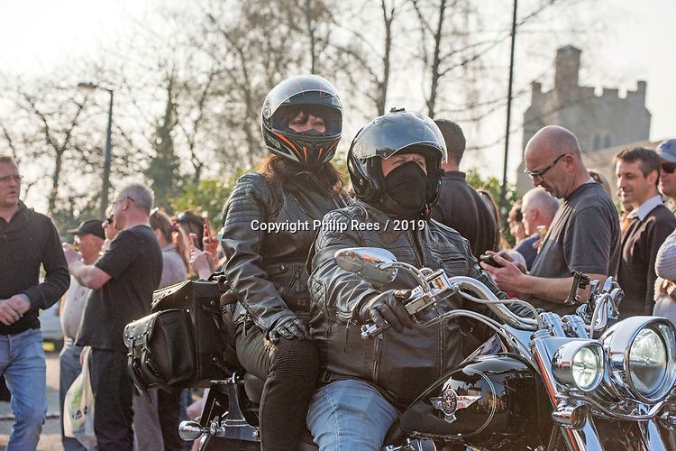Motorcyclists turn out in force for the funeral of Prodigy singer Keith Flint at St Marys Church in Bocking,  Essex today. Keith was a keen motorcyclist.