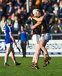 Brandon O Connell and Jack Browne of Ballyea celebrate following the county senior hurling final against Cratloe at Cusack Park. Photograph by John Kelly.
