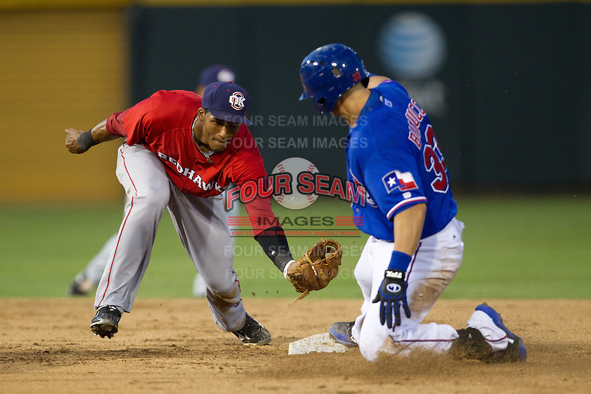Oklahoma City RedHawks second baseman Jimmy Paredes #17 attempts to tag out baserunner Mike Bianucci #33 during the Pacific Coast League baseball game against the Round Rock Express on June 15, 2012 at the Dell Diamond in Round Rock, Texas. The Express shutout the RedHawks 2-1. (Andrew Woolley/Four Seam Images).