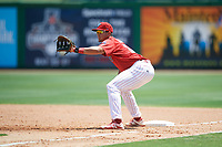 Clearwater Threshers first baseman Darick Hall (21) during a game against the Lakeland Flying Tigers on May 2, 2018 at Spectrum Field in Clearwater, Florida.  Clearwater defeated Lakeland 7-5.  (Mike Janes/Four Seam Images)