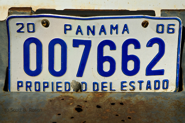 Close-up of an old Panamenian license plate, Bocas Town, Bocas del Toro, Panama