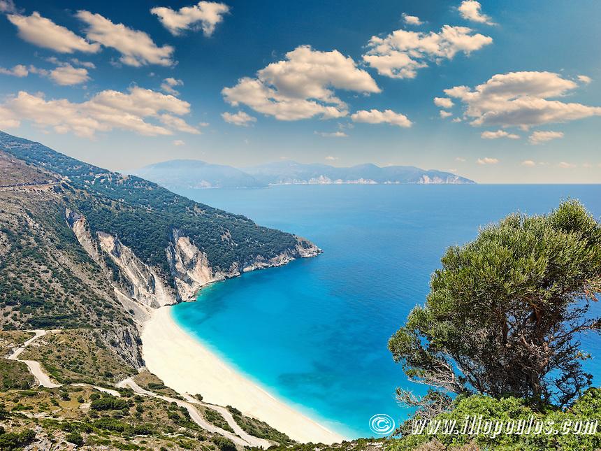 The famous beach Myrtos in Kefalonia island, Greece