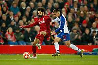 Mohamed Salah of Liverpool and Otavio of FC Porto in action during the UEFA Champions League Quarter Final first leg match between Liverpool and Porto at Anfield on April 9th 2019 in Liverpool, England. (Photo by Daniel Chesterton/phcimages.com)<br /> Foto PHC/Insidefoto <br /> ITALY ONLY