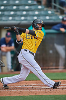 Anthony Bemboom (9) of the Salt Lake Bees at bat against the Tacoma Rainiers at Smith's Ballpark on May 16, 2021 in Salt Lake City, Utah. The Bees defeated the Rainiers 8-7. (Stephen Smith/Four Seam Images)