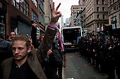 """New York, New York<br /> November 15, 2011<br /> <br /> After the police clear Zuccotti Park many of the evicted """"Occupy Wall Street"""" protesters, reconvened in Foley Square and march Juan Pablo Duarte Square at Canal and 6th Ave and final back to Zuccotti Park to wait a court order to reenter the park."""