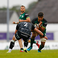 4th June 2021; Galway Sportsgrounds, Galway, Connacht, Ireland; Rainbow Cup Rugby, Connacht versus Ospreys; Jarrad Butler (Connacht) looks for a way past Sam Parry (Ospreys)