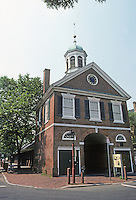Philadelphia: Head House, late Georgian 1804. Fire House. Behind it, market sheds. Photo '85.