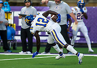 Josh Thower (12) of North Little Rock intercepts ball and runs back for North Little Rock's first touch down against Fayetteville at Harmon Field , AR, on Friday,September 10, 2021 / Special to NWADG David Beach