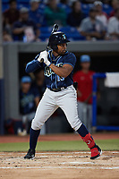 Omar Meregildo (13) of the Wilmington Blue Rocks at bat against the Hudson Valley Renegades at Dutchess Stadium on July 27, 2021 in Wappingers Falls, New York. (Brian Westerholt/Four Seam Images)