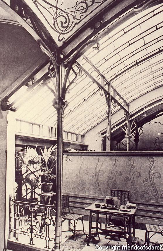The winter garden in Hotel Tassel designed by Victor Horta. Brussels, Belgium. Art Nouveau style, 1893-1895