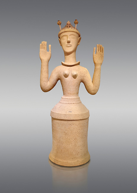 """Minoan Postpalatial terracotta  """"Poppy goddess: statue with raised arms and poppy seed crown,  Karphi Sanctuary 1300-1200 BC, Heraklion Archaeological Museum, grey background. <br /> <br /> The """"Poppy Goddess"""" statuye is crowned with opium poppy seed heads. As opium is a hallucinogen that also sedates and has healing properties, experts assume this was the goddess of pain relief and healing/ During this period both Minoan and Mycenaean graves were found in Karphi snctuary so these cult gods are attributable to both cultures"""