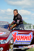 Sept 9, 2012; Clermont, IN, USA: NHRA pro stock driver Greg Anderson during the US Nationals at Lucas Oil Raceway. Mandatory Credit: Mark J. Rebilas-