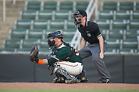 Greensboro Grasshoppers catcher John Silviano (34) sets a target as home plate umpire Tyler Jones looks on during the game against the Kannapolis Intimidators at Intimidators Stadium on July 17, 2016 in Greensboro, North Carolina.  The Grasshoppers defeated the Intimidators 5-4 in game two of a double-header.  (Brian Westerholt/Four Seam Images)