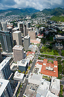 Aerial view from downtown Honolulu to mountains